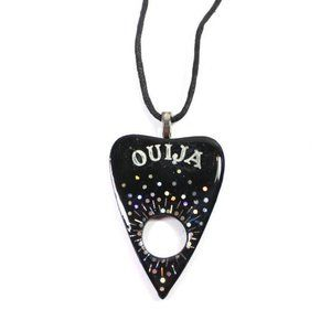 Black and Holographic Ouija Planchette Necklace.